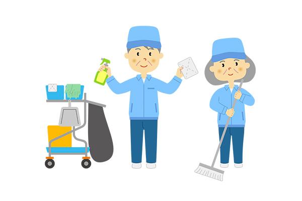 商業施設での清掃スタッフ